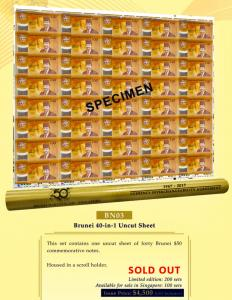 Brunei 40-in-1 Uncut Sheet $50 Currency Interchangeability Agreement (CIA) Limited Edition Numismatic Notes