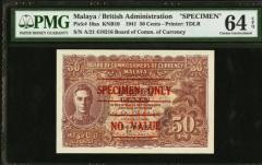 Malaya British 1941 50 cents Specimen PMG graded