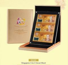 SG50 Singapore 3 in 1 Uncut Sheet Limited Edition Numismatic Notes Collection