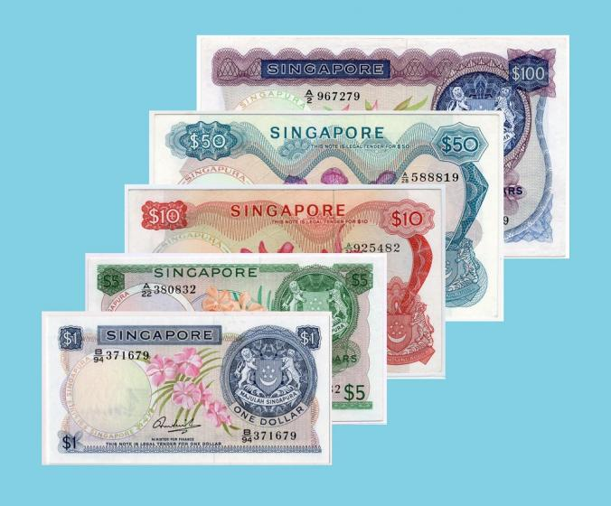 Singapore Orchid series Hon Sue Sen without seal $1 - $100 banknotes set