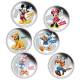 Disney Mickey & Friends 6 X 1 oz 999 Fine Silver Colour Proof Coin Bundle