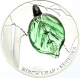 Spring Glass Birch Leaf 999 Fine Silver Proof Coin With Bohemian Glass Insert