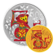 China Monkey 1/10 oz 999.9 Fine Gold + 1 oz 999 Fine Silver Proof Coin Set (With Colour)