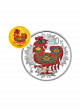 China Rooster 3gm 999.9 Fine Gold + 30gm 999 Fine Silver Proof Coin Set (with colour)