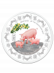 The Singapore Mint Lunar Boar 1kg 999 Fine Silver Proof-like Colour Medallion