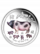 Australia Year of the Pig 1oz 999 Fine Silver Proof Colour Coin