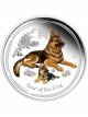 Australia Year of the Dog 1oz 999 Fine Silver Proof Colour Coin
