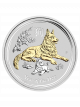 Australia Year of the Dog 1oz 999 Fine Silver Gold Gilded Coin
