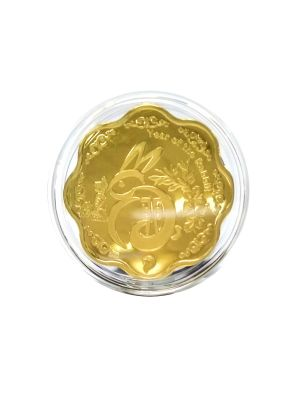 Rabbit Zodiac Scallop Shaped Gold-Plated Medal
