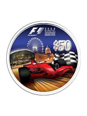 2008 F1 Singtel Spore Grand Prix $50 Silver Proof Coin