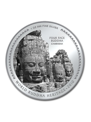 Four Face Buddha Cambodia 1 oz 999 Fine Silver Colour Proof Coin
