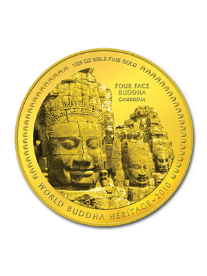 Four Face Buddha Cambodia 1/25 oz 999.9 Fine Gold Bu Coin