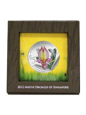 Bulbophyllum Macranthum 1 oz 999 Fine Silver Proof Colour Coin