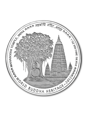 Mahabodhi Temple Of India 1 oz 999 Fine Silver Proof Colour Coin