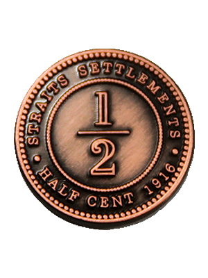 Half-Cent Straits Settlement Coin Pin
