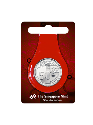 50 Cents Coin Multi-Purpose Money Clip (Red)