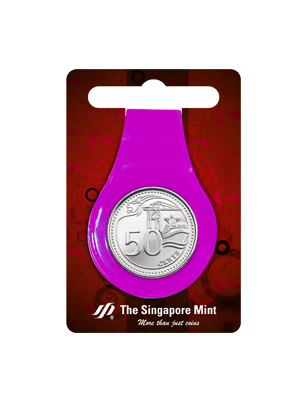 50 Cents Coin Multi-Purpose Money Clip (Purple)