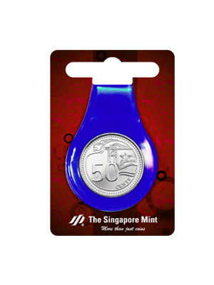 50 Cents Coin Multi-Purpose Money Clip (Blue)