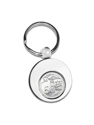 TS 50Cents Nickel Plated Round Shape Keyring