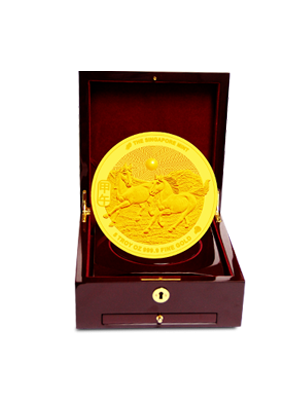 The Singapore Mint Lunar Horse 5 oz 999.9 Fine Gold Proof Medallion