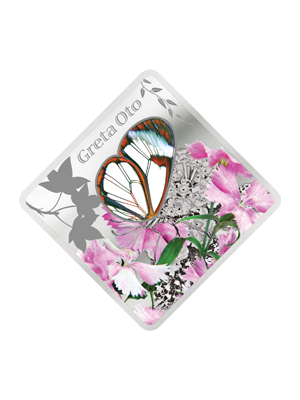 Butterfly Greta Oto 925 Silver Proof Coin With Glass Insert