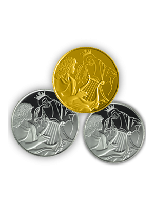 Biblical Art David Playing For Saul Gold + Silver 3-In-1 Coin Set