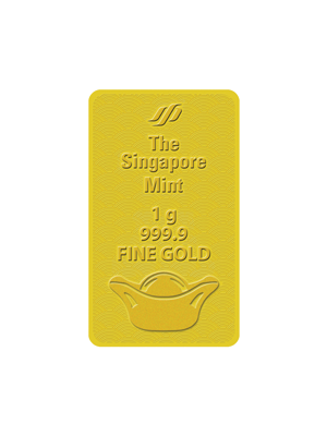 God Of Wealth 1 gm 999.9 Fine Gold Auspicious Ingot