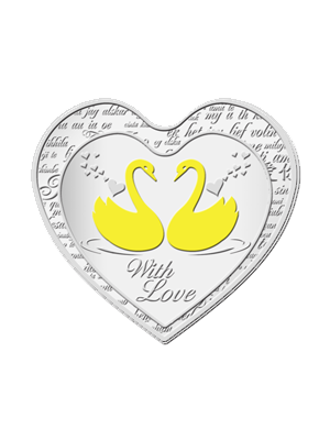 Love Swans 1 oz 999 Fine Silver Medallion With Gold-Gilding