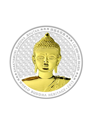 Shakyamuni Buddha Of Bhutan 1 oz 999 Fine Silver Colour Proof Coin