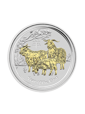 Australia Year Of The Goat 1 oz 999 Fine Silver Gold Gilded Coin