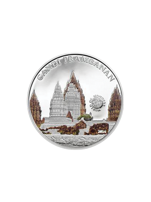 World Of Wonders - Candi Prambanan Sterling Silver Proof Colour Coin