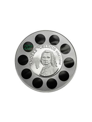 Anders Celsius Thermometer 925 Sterling Silver Proof Coin With Thermometer