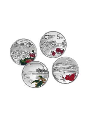 World Heritage - West Lake Attractions 4 X 1/2 oz 999 Fine Silver Proof Coin Set