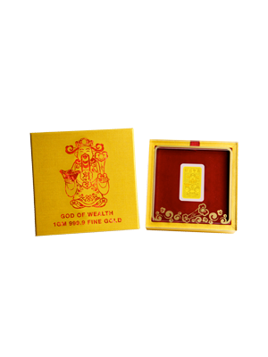 God Of Wealth 1 gm 999.9 Fine Gold Ruyi Ingot