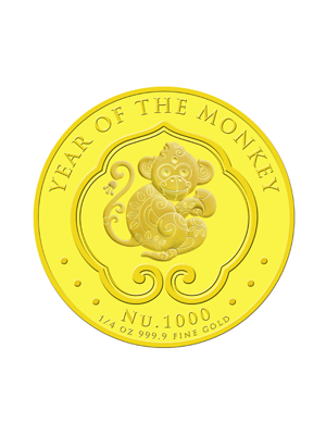 Bhutan Lunar Monkey 1/4 oz 999.9 Fine Gold Proof Colour Coin