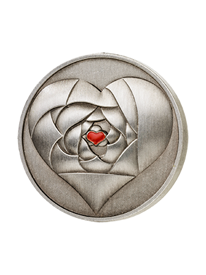 Rose In Your Heart 925 Fine Silver Coin With Red Enamel