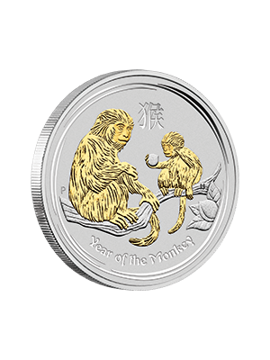 Australia Year Of The Monkey 1 oz 999 Fine Silver Gold Gilded Coin