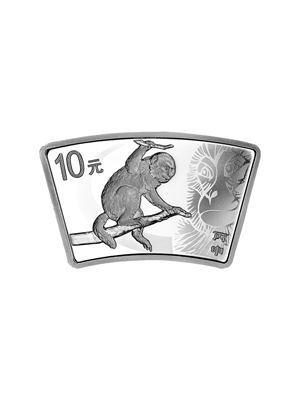 China Monkey 1 oz Fan-Shaped 999 Fine Silver Proof Coin