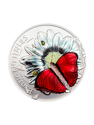 2016 Butterflies In 3D 999 Fine Silver Proof Colour Coin