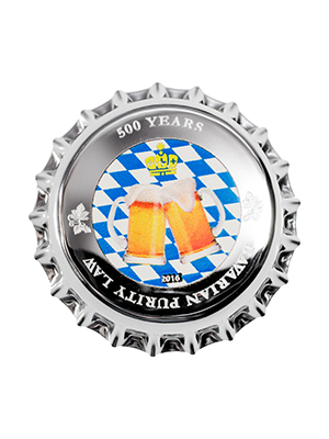 Bavarian Beer Cap 999 Fine Silver Proof-Like Colour Coin