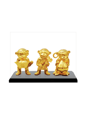 Three Good Blessing Monkeys Set (24K Goldplated)