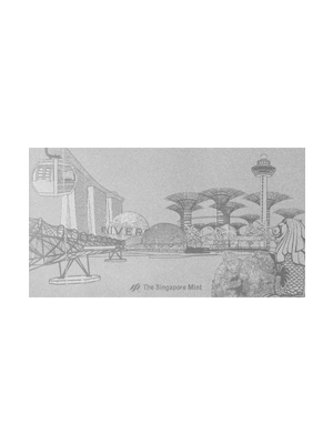 Singapore Attractions Embossed 999 Fine Silver Foil