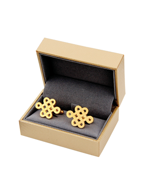 Chinese Knot Cufflink & Necklace Set (24K Gold-Plated)