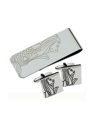 Merlion Moneyclip & Cufflinks (Lg) Set