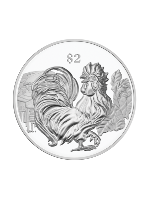 2017 Singapore Lunar Rooster Nickel-Plated Zinc Proof-Like Coin