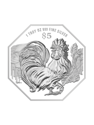 2017 Singapore Lunar Rooster 1 troy oz 999 Fine Silver Proof Coin