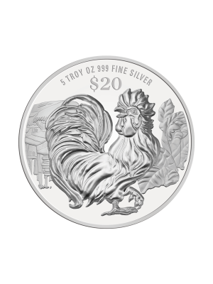 2017 Singapore Lunar Rooster 5 troy oz 999 Fine Silver Proof Coin