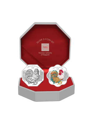 2017 Singapore Lunar Rooster Silver 2-Coin Set