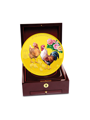 The Singapore Mint Lunar Rooster 5 oz 999.9 Fine Gold Proof Colour Medallion