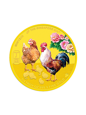 The Singapore Mint Lunar Rooster 1/4 oz 999.9 Fine Gold Proof Colour Medallion